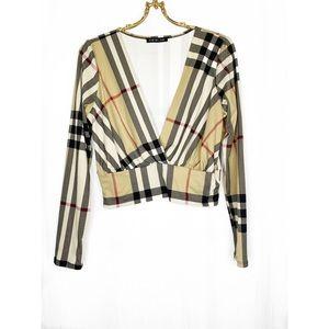 🌸2/$30 plaid v neck long sleeve crop top